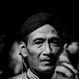 Man With Blangkon Indonesian traditional hat by Krisdian Isnu Wardana - People Portraits of Men ( black and white, people, portrait, man )