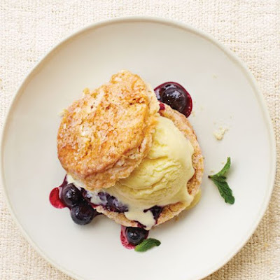 Corn Ice Cream Shortcakes with Blueberry Compote