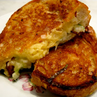 Grilled Cheddar Sandwich with Spring Allium