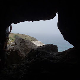 Gozo Window by Nick Pirie - Landscapes Caves & Formations ( window, malta, gozo, view, beach, cave )