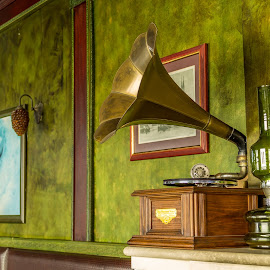gramophone by Armağan Gürsoy - Novices Only Objects & Still Life ( gramophone, frame, oil lamp, old fashion, green, wall,  )