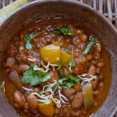 Lentil and Bean Chili with Eggplant and Sweet Peppers