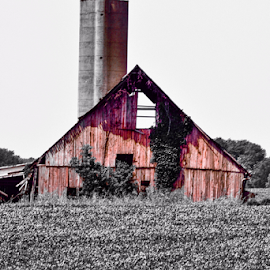 Rustic old barn by Brock Willis - Buildings & Architecture Other Exteriors ( amazing, cool, indiana, red, barn, black and white, awesome, south, nice, me, like )