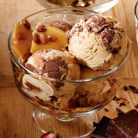 Crunchy Peanut Brittle-Chocolate Ice Cream