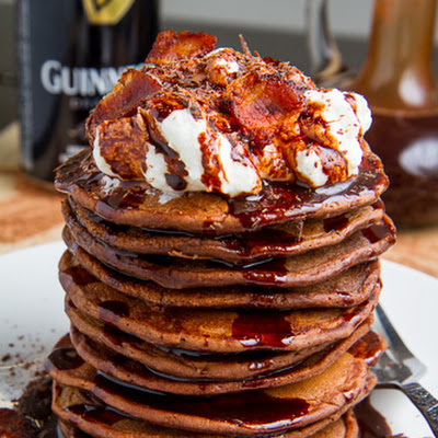 Bacon Guinness Chocolate Pancakes with a Frothy Whipped Cream Head and Guinness Chocolate Syrup