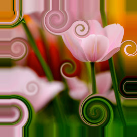 flower swirl by Marjorie Speiser - Illustration Flowers & Nature ( green, swirl, tulip, pink, flower, soft )