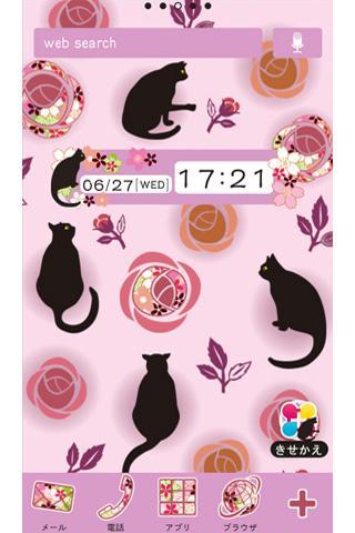 玩個人化App|黒猫と薔薇 for[+]HOMEきせかえテーマ免費|APP試玩