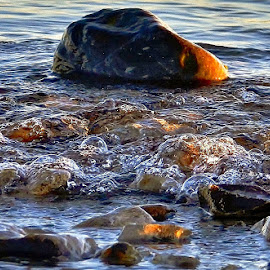 Surfin' Bubbles by Tim Hall - Nature Up Close Water ( shore, mackinac straits, lake michigan, bubbles, b each, rocks and stone, seascape, great lakes, lake shore )
