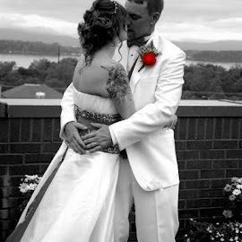 The Kiss by DeDe PalmerWells - Wedding Bride & Groom ( love, forever, wedding, couple, special, selective color, pwc )