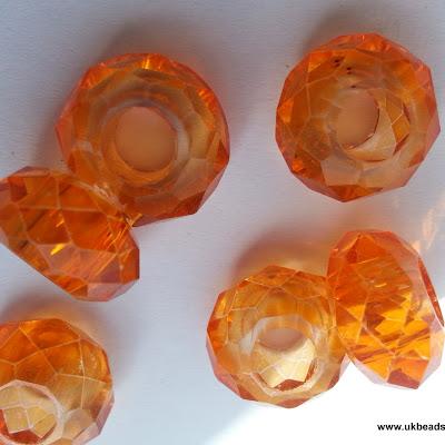 European Bead Orange Faceted x1