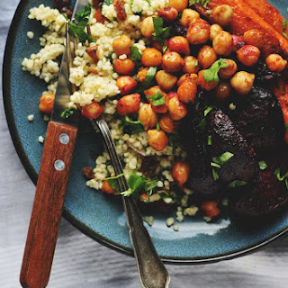 Harissa Roasted Roots with Crispy Chickpeas + Herby Millet Pilaf