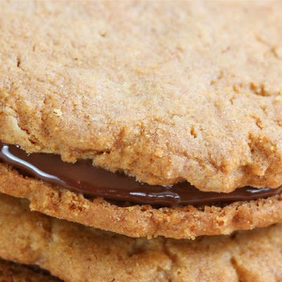 Peanut Butter Sandwich Cookies with Chocolate Peanut Butter Ganache