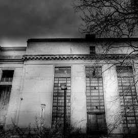 Oil building by Wil Moore - Buildings & Architecture Office Buildings & Hotels ( building, artistic, bw, architecture, abandoned, black and white, b&w, landscape )