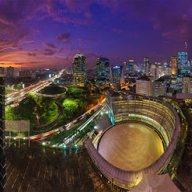 Semanggi Skyline by Jose Hamra - City,  Street & Park  Skylines ( skyline, building, sunset, semanggi, night, jakarta, city,  )