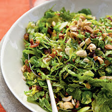 Brussels Sprout Hash with Bacon, Hazelnuts, and Mint