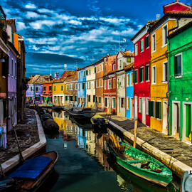 Burano HDR Canal by Toine Baken - City,  Street & Park  Neighborhoods ( water, colour, houses, sky, hdr, color, venice, burano, homes, canal, italy, photography )