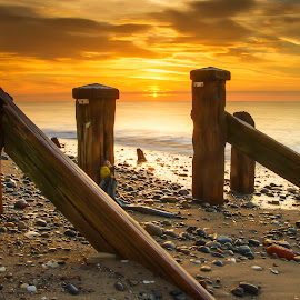 Groynes by Brian Kirby - Buildings & Architecture Other Exteriors ( sea defenses, spurn point, groynes, sunrise, spurn head )