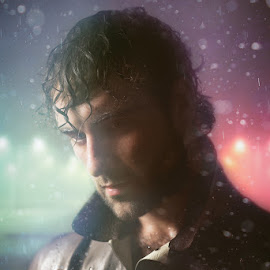 Parting in the Rain by Dominic Lemoine Photography - People Portraits of Men ( selfie, parking, green, violet, raindrops, leather, rain )