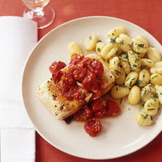 Pan-Roasted Fish with Burst Tomatoes and Chive Gnocchi