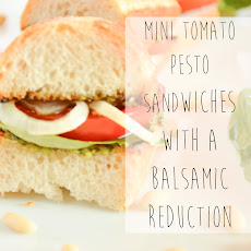 Mini Tomato Pesto Sandwiches with a Balsamic Reduction