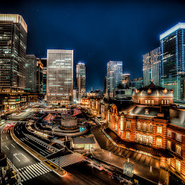 Tokyo Station by Matthew Haines - City,  Street & Park  Night