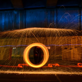 Fire Orb by Aldus Smith - Abstract Fire & Fireworks ( red, orb, steel wool, spin, blur, fire )