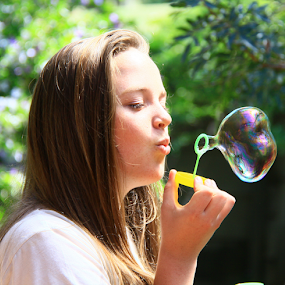 Puff! by David Smith - People Portraits of Women ( bubble, girl, fun, party )