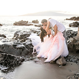 A Mermaid and her Surfer by Lisa Brown - Wedding Bride & Groom ( wedding photography, bella rose photography, destination photography, beach weddings, maui wedding )