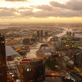 Melbourne Skyline by Tim Bieler - City,  Street & Park  Skylines ( tower, skyline, eureka, melbourne, sunset, victoria, city )