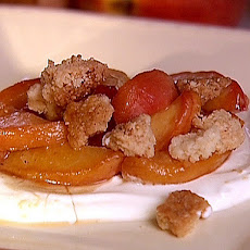 Stovetop Peaches with Streusel Topping and Zesty Sour Cream