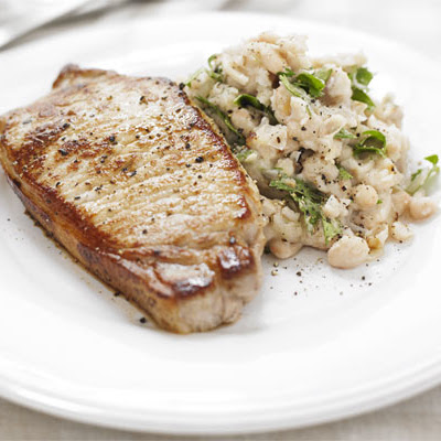 Pork With Garlicky Bean Mash