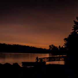 Night fall by Trey Walker - Novices Only Landscapes ( orange, dam, fall, lake, night )