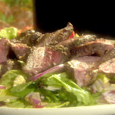 Grilled Butterflied Leg of Lamb with a Romaine, Feta, Lemon Vinaigrette Salad