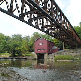 Indian Mill Dam and new bridge by Rhonda Yentzer-Rose - Buildings & Architecture Public & Historical ( water, mill, new, dam, bridge )