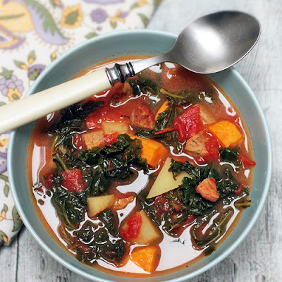 Karina's Gluten-Free Kale Soup Recipe with Spicy Chicken Sausage, Gold and Sweet Potatoes