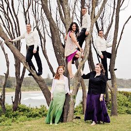 Up the Tree! by Alan Evans - Wedding Groups ( groomsmen, wedding photography, wedding group, aj photography, bridesmaids, wedding, wedding day, canberra, bride and groom, bride, canberra wedding photographer, groom, bride groom,  )