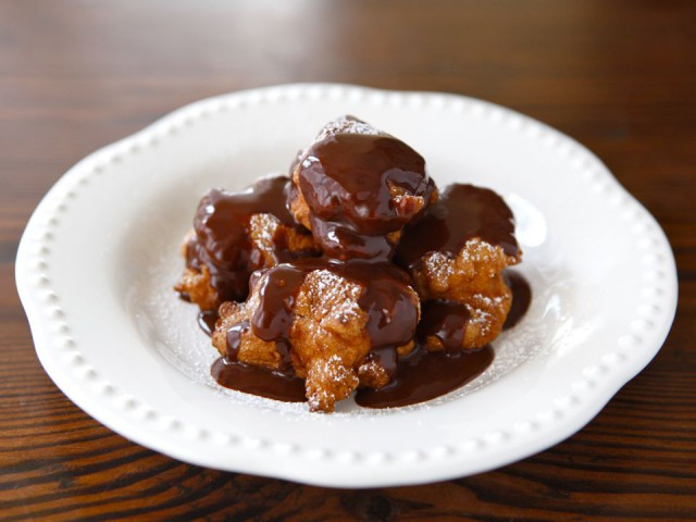Hanukkah Fritters with Warm Chocolate Sauce Recept | Yummly