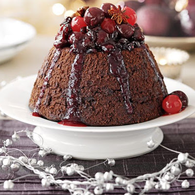 Chocolate Pudding With Spiced Berry Syrup