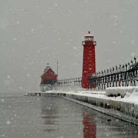 Winter Beauty by Carol Cooper - Buildings & Architecture Public & Historical ( red, winter, lighthouse, reflections )
