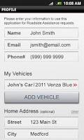 Screenshot of Toyota Roadside Assist