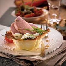 Mini Gammon And Egg Filo Basket