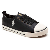 Ralph Lauren Preppy Leather Lace Up Trainer VELCRO  TRAINER