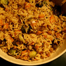 Squash & Sprout Orzo Salad with Ginger-Walnut Dressing