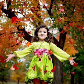 Fall Happiness by Darya Morreale - Babies & Children Child Portraits ( girl, autumn, happy, portrait, falling leaves, , fall, color, colorful, nature )