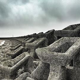 Defences  by Sean Astbury - Instagram & Mobile iPhone ( defence, wave, breaker, sea, coast )