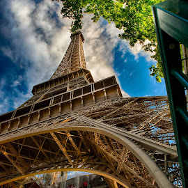 Towering Eiffel by Sheldon Anderson - Buildings & Architecture Statues & Monuments ( eiffel tower, paris, sky, base, upward view )