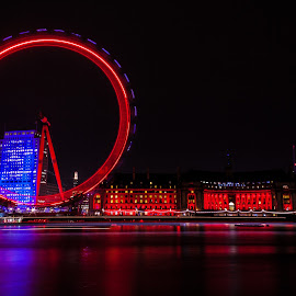 London Eye and South Bank by Steve Cowling - Buildings & Architecture Public & Historical ( london eye, steve cowling, south bank, london, long exposure,  )