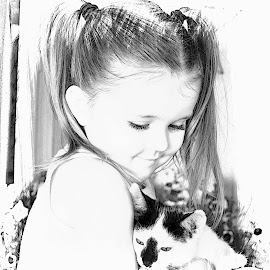Little Girls by Denise Langevin - Digital Art People ( kids and pets, children portraits, kids, toddler, kid )