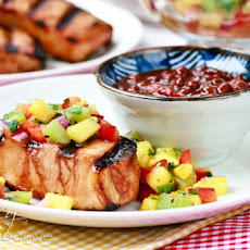 Firecracker Pork Chops with Pineapple Kiwi Salsa