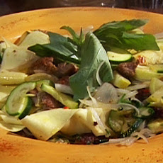 Zucchini and Squash Pasta with Sweet Italian Sausage and Pappardelle